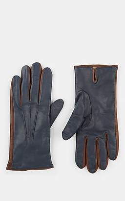 Barneys New York Men's Cashmere-Lined Leather Gloves - Navy