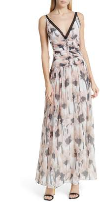 Jason Wu Watercolor Poppy Silk Maxi Dress