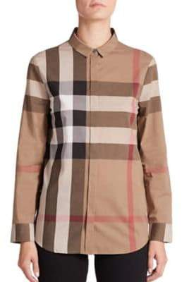 Burberry Large Checkered Cotton Blouse
