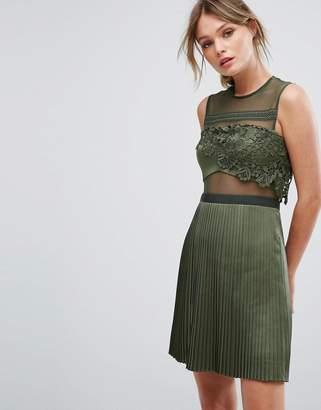 Three floor Mini Dress With Pleated Satin Skirt