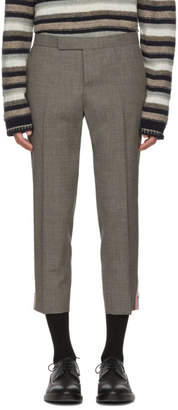 Thom Browne Grey Low-Rise Skinny Side Tab Trousers