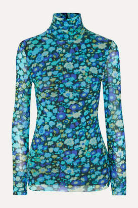 Ganni Floral-print Stretch-mesh Turtleneck Top - Blue