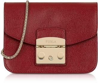 At Forzieri Furla Cherry Leather Metropolis Mini Crossbody Bag