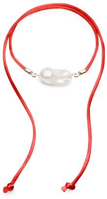 Jean Joaillerie - Baroque Freshwater Pearl & Red Satin Convertible Necklace / Anklet Gold Accents