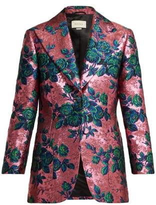 Gucci Floral Brocade Single Breasted Jacket - Womens - Pink Multi