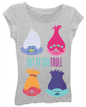 Asstd National Brand Trolls Girls' Out of Con-troll Short Sleeve Graphic T-Shirt with Crystalline