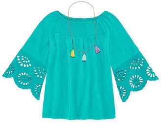 Arizona Eyelet Sleeve Top With Necklace - Girls' 4-16