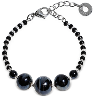 Antica Murrina Optical 2 Rigido - Silver Stainless Steel Bracelet w/Black Murano Glass Beads $62 thestylecure.com