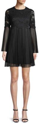 Aidan Mattox Long-Sleeve Lace & Point d'Esprit Dress