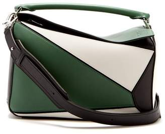 Loewe Puzzle Small Tri Colour Leather Bag - Womens - Green Multi