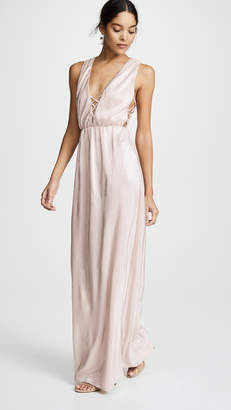 WAYF Arden Lace Up Maxi Dress