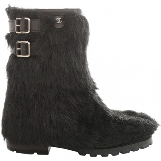 Chanel Black Faux fur Boots