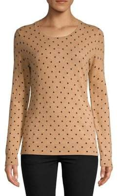 Lord & Taylor Dotted Crewneck Cashmere Sweater