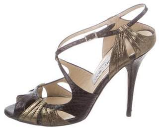 Jimmy Choo Snakeskin Ankle-Strap Sandals
