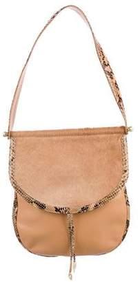 Kieselstein-Cord Snakeskin-Trimmed Leather Flap Bag
