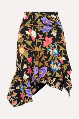 Peter Pilotto Asymmetric Floral-print Cloqué Skirt - Black