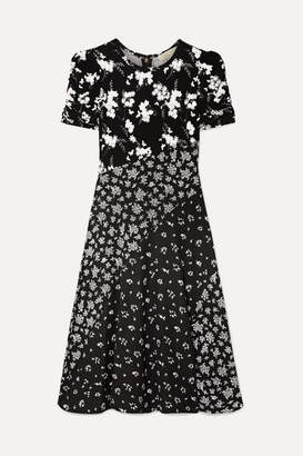 MICHAEL Michael Kors Embellished Paneled Floral-print Stretch-knit Dress - Black