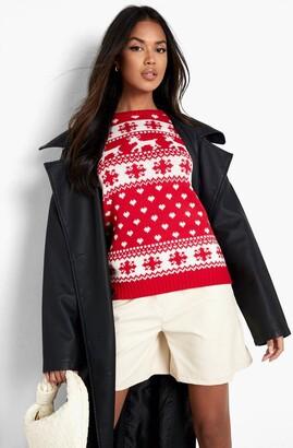 boohoo Reindeers & Snowflake Christmas Sweater