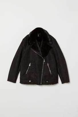 H&M Faux Fur-lined Biker Jacket - Black
