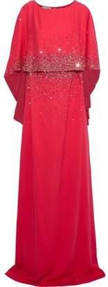 Oscar de la Renta Cape-effect Crystal-embellished Silk Gown