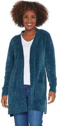 Denim & Co. Regular Chenille Long- Sleeve Open- Front Cardigan
