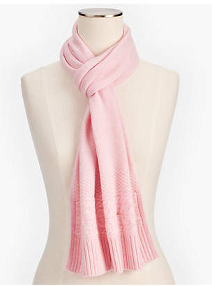 Talbots Marled Cashmere Cable Border Scarf