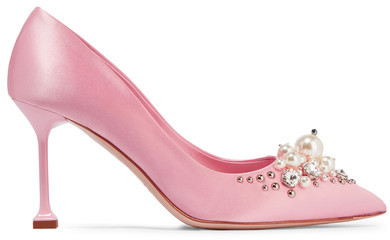 Miu Miu - Embellished Satin Pumps - Baby pink