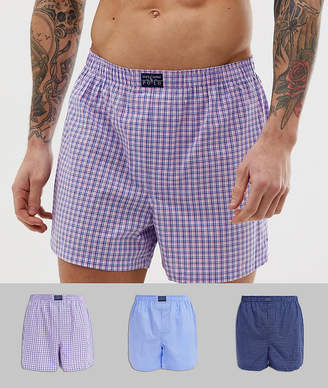 8a5a23b32 Polo Ralph Lauren 3 pack woven boxer shorts in blue   navy check   pink  check