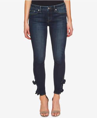 CeCe Bow-Trim Skinny Jeans