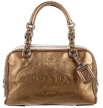 prada Prada Metallic Vitello Daino Bauletto Bag