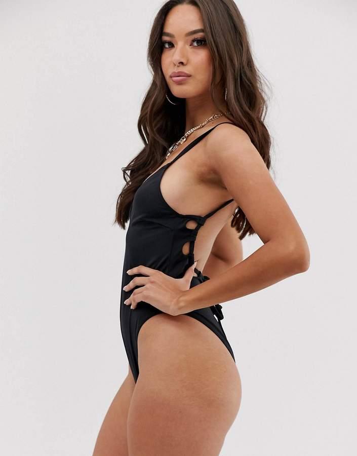 ASOS DESIGN key hole channel back swimsuit in black