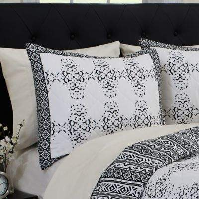 Mosambique Standard Pillow Sham in White/Black