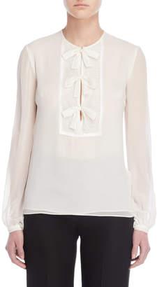 4da877c0f1b04 Giambattista Valli Long Sleeve Bow Detail Silk Chiffon Blouse