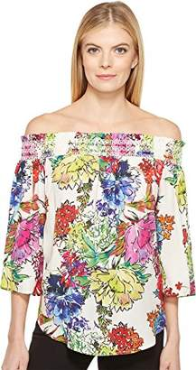 Karen Kane Women's Watercolor Floral Off-The-Shoulder Top