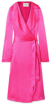 Leone we are Tallulah Silk-charmeuse Trench Coat - Bright pink