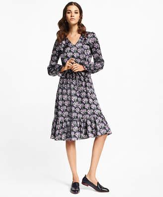 Brooks Brothers Wildflower-Print Silk-Satin Dress