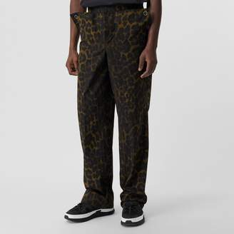 Burberry Relaxed Fit Leopard Print Cotton Trousers
