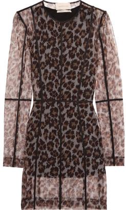 Leopard-print Stretch-mesh Mini Dress - Leopard print