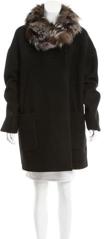 Miu Miu Miu Miu Wool Fur-Trimmed Coat