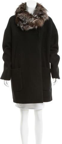 Miu MiuMiu Miu Wool Fur-Trimmed Coat