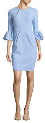 Betsy & Adam Pleated Bubble-Sleeve Sheath Dress