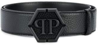 Philipp Plein logo plaque embossed belt