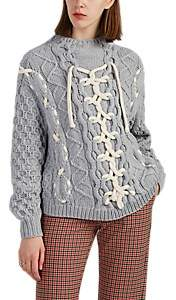 Spencer Vladimir Women's Lace-Up-Detailed Cable-Knit Sweater - Light Gray