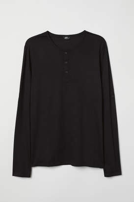 H&M Cotton Jersey Henley Shirt - Black