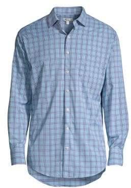 Peter Millar Men's Plaid Button-Front Shirt - Mosaic Blue - Size Medium