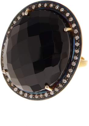 Forever Creations USA Inc. 18K Gold Plated Sterling Silver Faceted Black Onyx & Simulated Diamond Halo Oval Ring