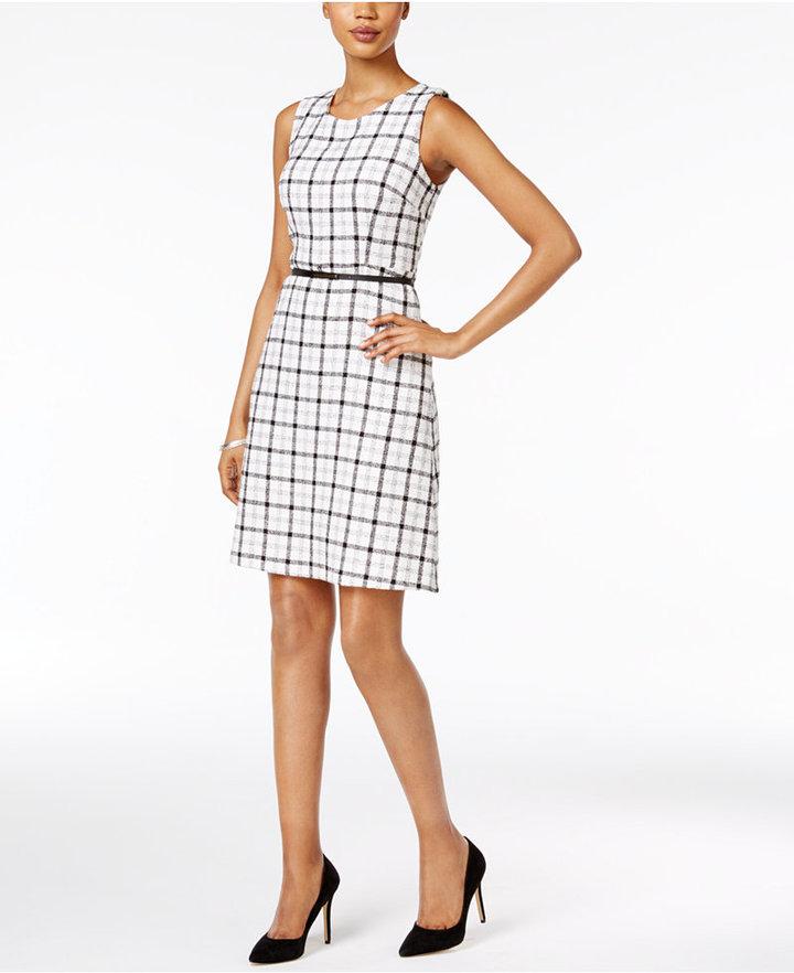 Nine West Belted Plaid Dress