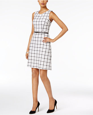 Nine West Belted Plaid Dress $89 thestylecure.com