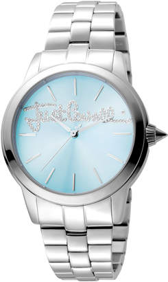 Just Cavalli 36mm Logo Mohair Bracelet Watch, Ice Blue