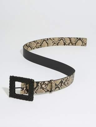 Warehouse Raffia Buckle Belt - Animal Print